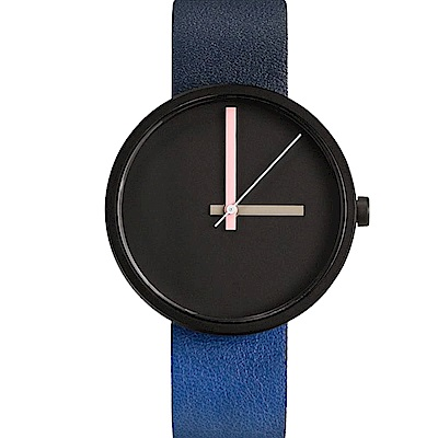 AÃRK 時尚晚安城市真皮革腕錶 -黑色/38mm