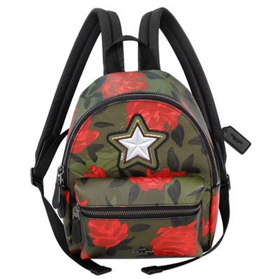 COACH軍綠玫瑰彩繪星型貼飾小款後背包