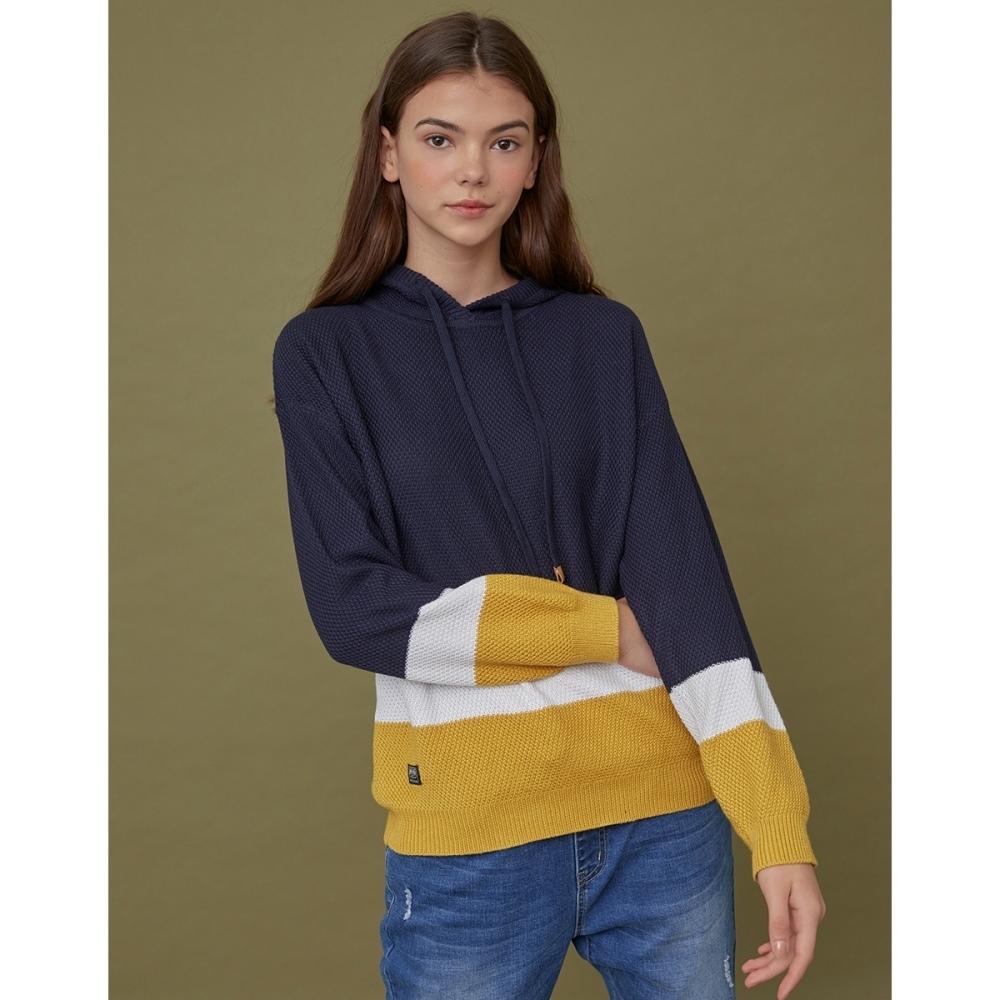 CACO-拼接色連帽毛衣-情侶款-女【VAR075】
