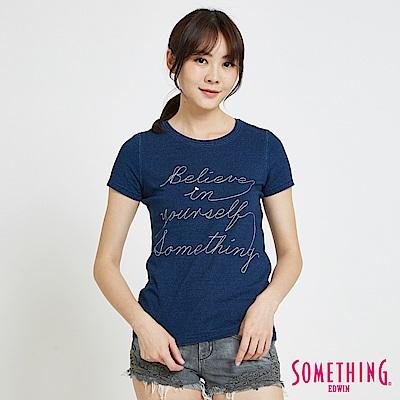 SOMETHING INDIGO靛藍復古繡花 短袖T恤-女-中古藍