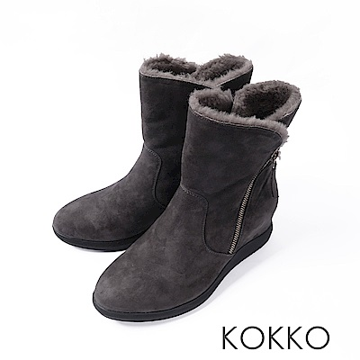 KOKKO- 冬日暖芯真皮內增高2way短靴-中性灰