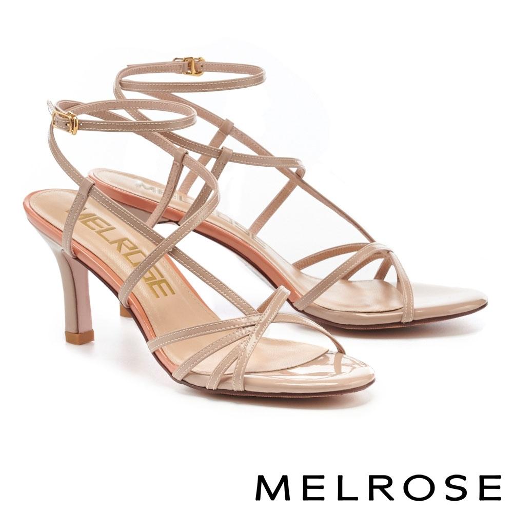 涼鞋 MELROSE 極簡時尚細帶跳色高跟涼鞋-米