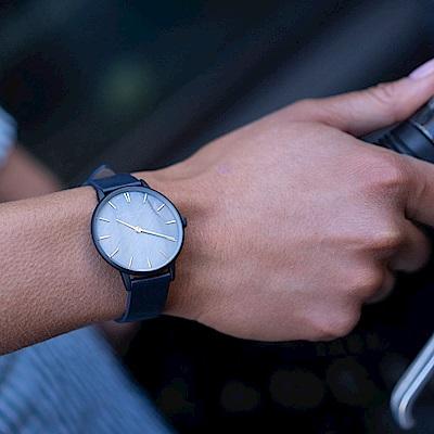 Elie Beaumont英國時尚手錶SOHO系列 珍珠母貝錶盤x深藍皮革錶帶錶框35mm