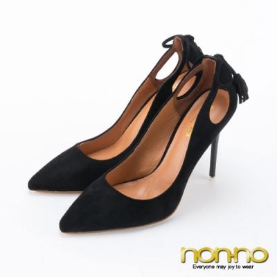 Nonno 諾諾側面挖空設計 搭配蝴蝶流蘇尖頭細高跟鞋-黑