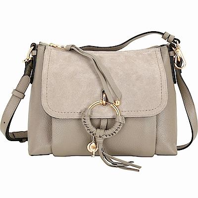 SEE BY CHLOE Joan 小型 編織金屬圈拼接皮革兩用包(卡其灰) @ Y!購物