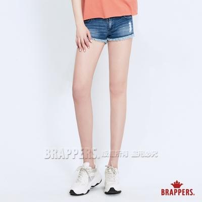 BRAPPERS 女款 Boy Friend系列-中低腰彈性不收邊短褲-淺藍