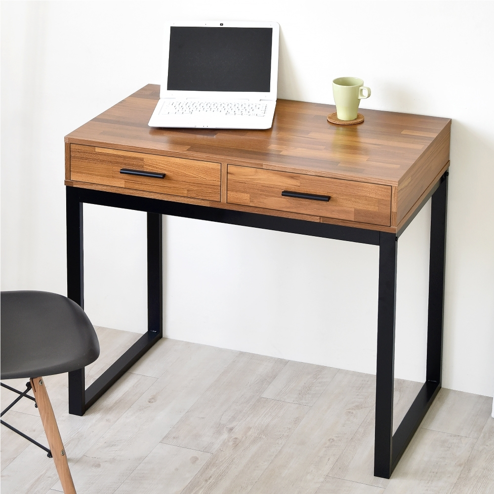 《HOPMA》DIY巧收復古二抽工作桌/書桌-寬90x深50x高78cm