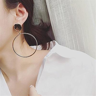梨花HANA  歐美時尚金色大圈圓片耳環