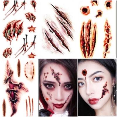 梨花HaNA 萬聖節神器恐怖化妝逼真傷痕刺青貼紙6張組