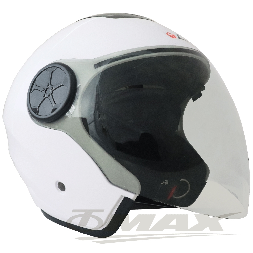 LAUS雙鏡片半罩大頭機車安全帽CA313-白色 (贈6入免洗內襯套)
