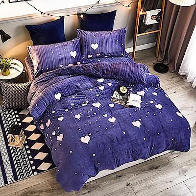 A-ONE法蘭絨 加厚兩用被毯雙人床包四件組 童話小鎮(獨家花色)