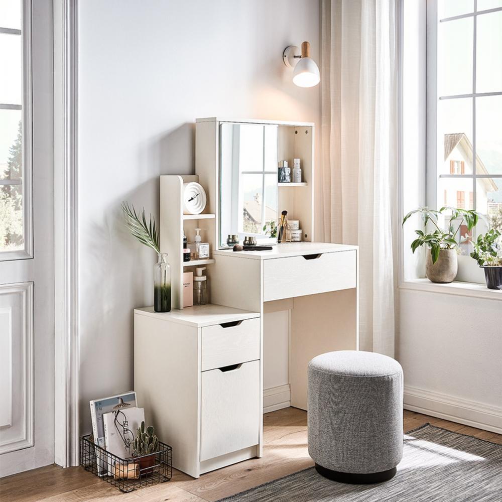 林氏木業北歐簡約多功能收納化妝桌椅組 JF4C-A 白色(含JF1H-A妝凳) (H014287798)