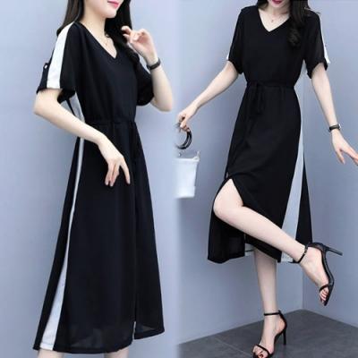 【韓國K.W.】(預購)性感魅力拼接洋裝-1色