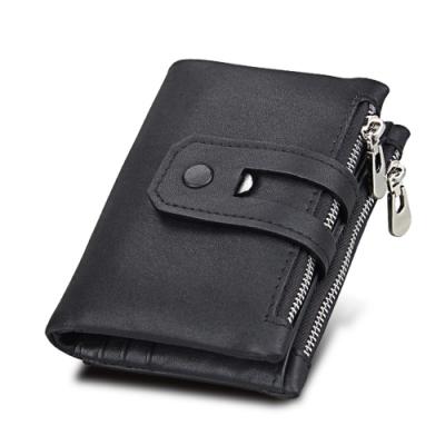 GT3578BK復古真皮帶扣附零錢包皮夾短夾黑色
