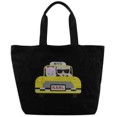 KARL LAGERFELD 帆布經典卡爾貓咪TAXI圖樣拉鍊購物包(黑)