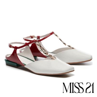 涼鞋 MISS 21 前膽摩登T帶釦設計漆皮低跟涼鞋-白