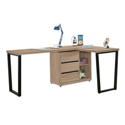 文創集 納多德 現代5.9尺三抽L型書桌/電腦桌-176-240x56-120x76.5cm免組