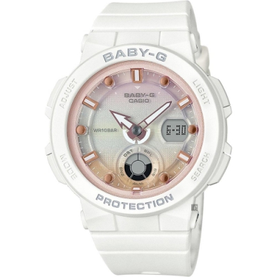 CASIO 卡西歐 Baby-G 海洋渡假 霓虹手錶-白(BGA-250-7A2)