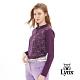 【Lynx Golf】女款吸濕排汗滿版可愛貓印花長袖POLO衫-深紫色 product thumbnail 2