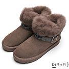 DIANA 華麗滿載—毛毛皮草水鑽釦飾雪靴-灰