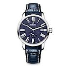 TITONI瑞士梅花錶 天星系列(83638 S-ST-609)-藍/皮錶帶/40mm