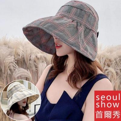 seoul show首爾秀 半空頂格子可折疊防曬遮陽帽