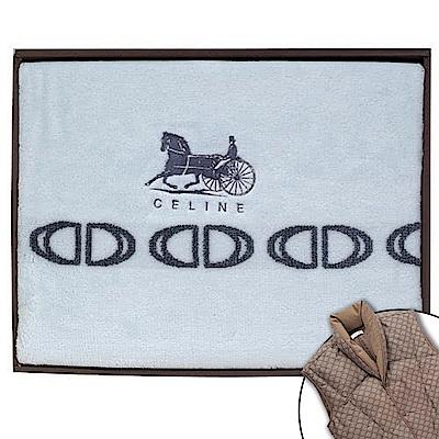 CELINE 首席素面LOGO蓋毯禮盒-水藍色(贈羽絨背心)
