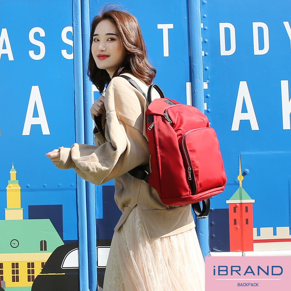 iBrand 率性時尚後開式防盜尼龍後背包(大)-魅力紅