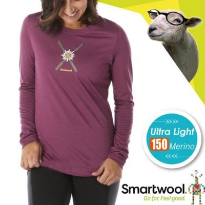 SmartWool 女 塗鴉雪花 超輕彈性透氣長袖圓領T恤_桑格里酒紅