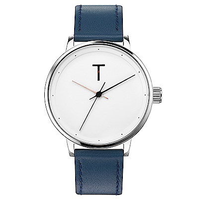 TYLOR Dank簡約質感皮革手錶-白X藍/40mm