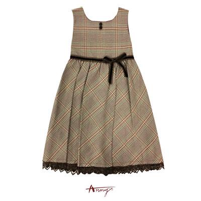 Annys經典格紋蝴蝶結蕾絲擺背心裙洋裝*1229咖啡