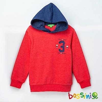 bossini男童-印花厚棉運動衫04暗紅