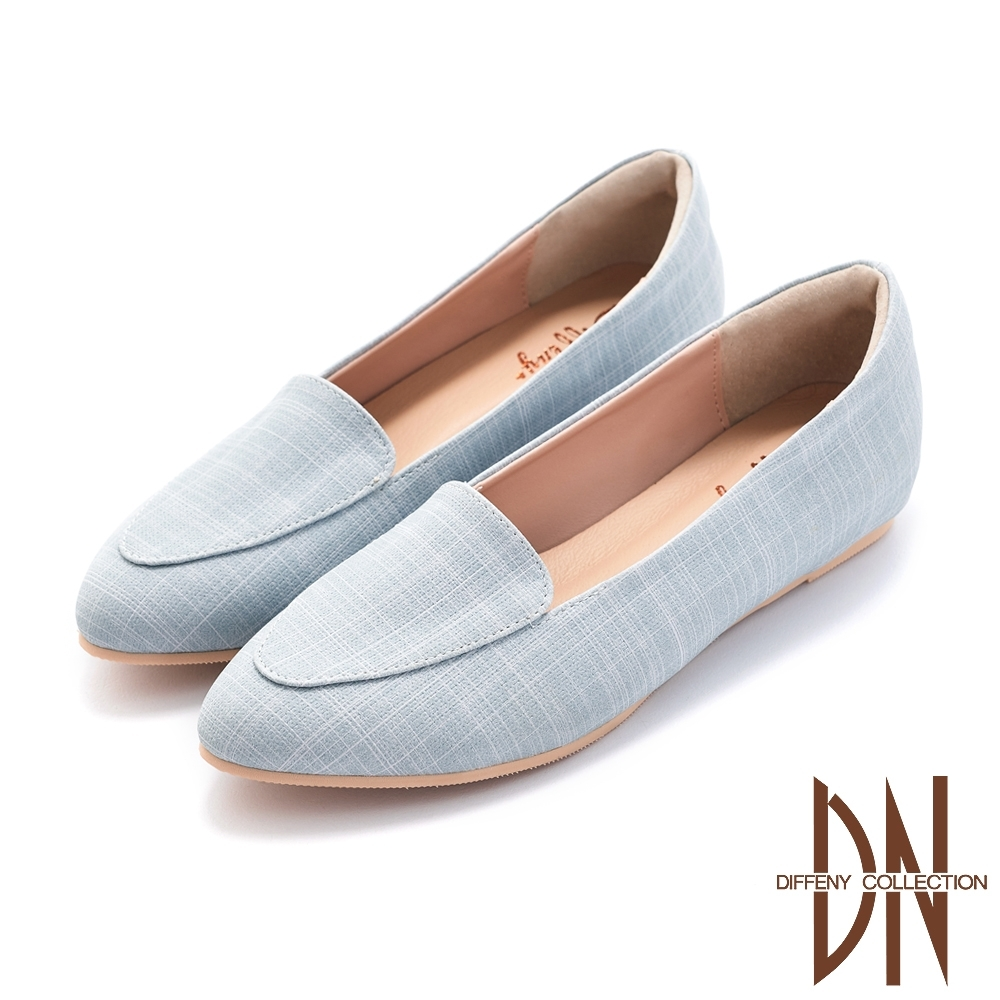 DN樂福鞋_MIT素色編織紋平底內增高鞋-水藍