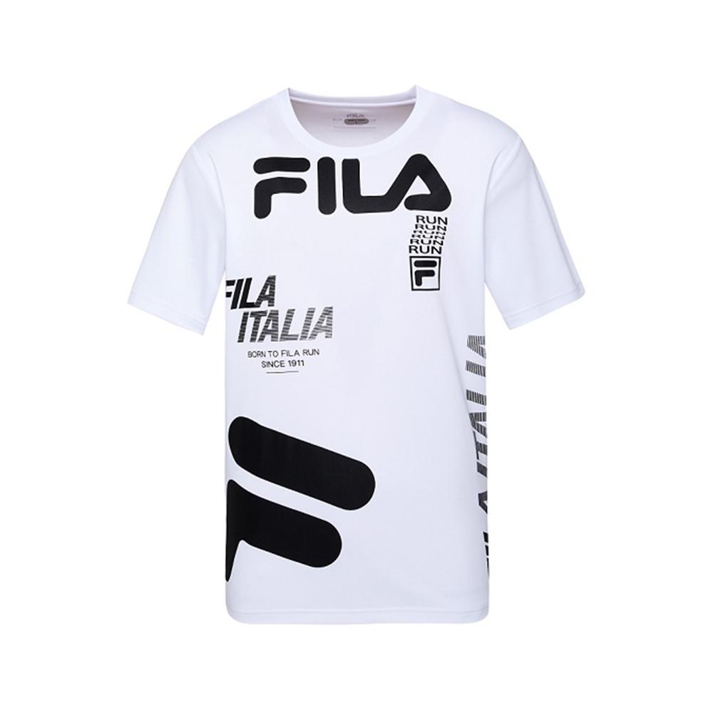 FILA 男抗UV吸濕排汗T恤-白 1TEV-1303-WT