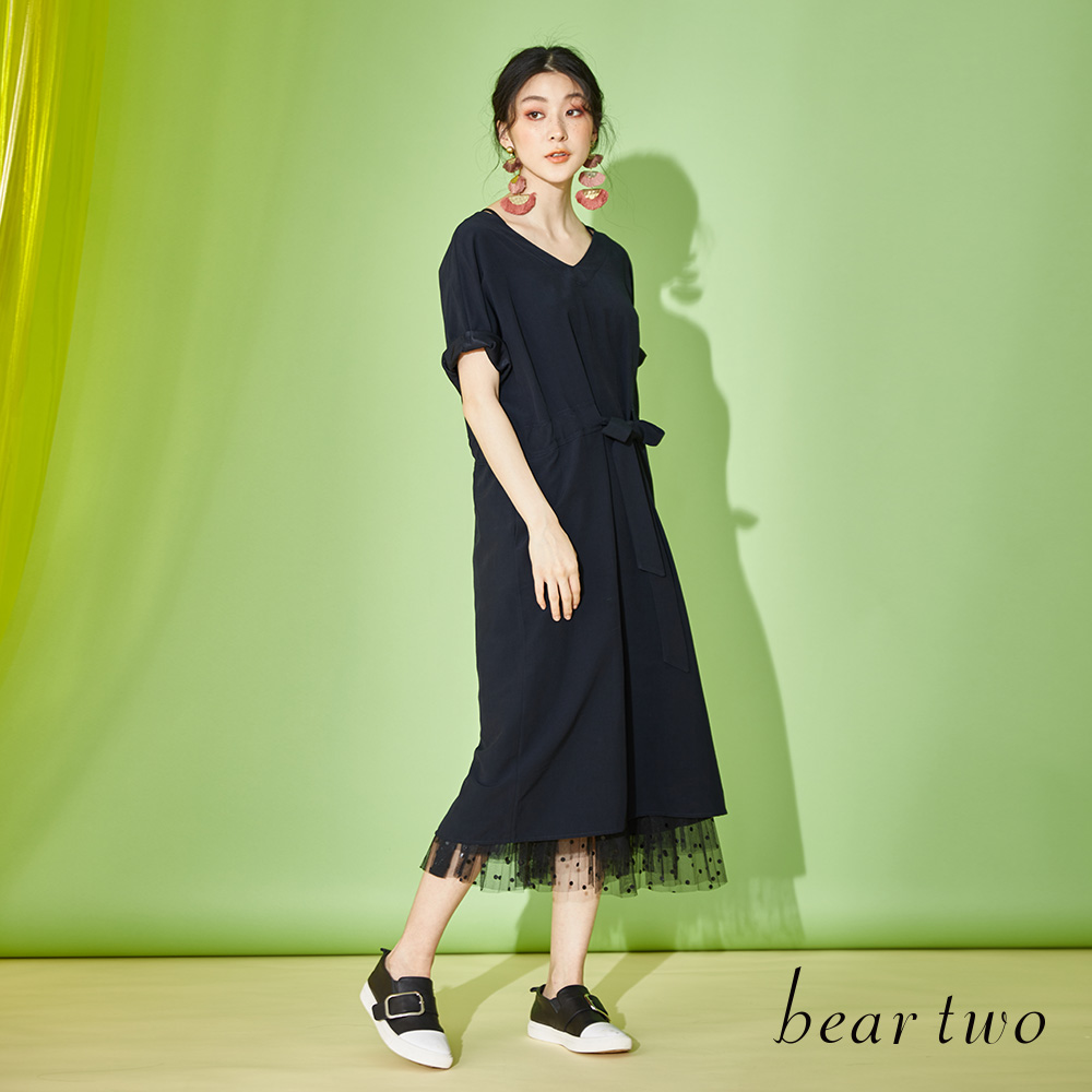beartwo V領腰肩綁帶寬鬆洋裝(二色)