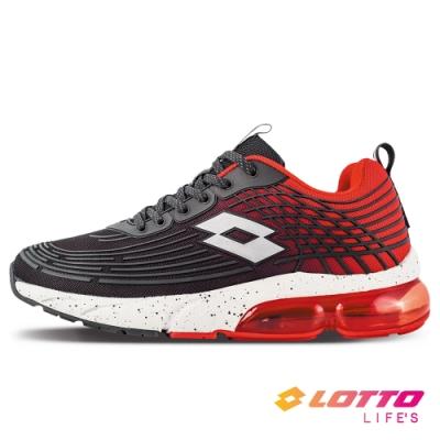 LOTTO 義大利 男 氣動樂跑 KPU氣墊跑鞋(黑/紅)