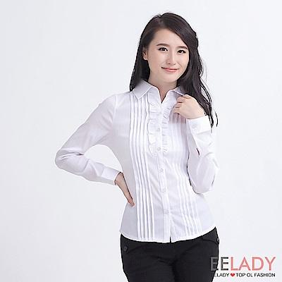EELADY-胸前荷葉壓摺長袖襯衫(白色)