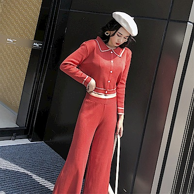 DABI 韓系氣質娃娃領修身寬口褲套裝長袖褲裝