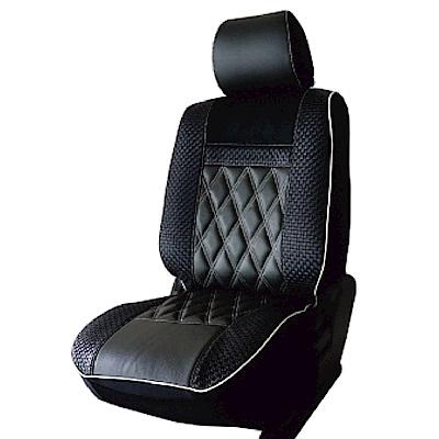 【葵花】量身訂做-汽車椅套-日式合成皮-竹編格紋A-露營車款-1+2排