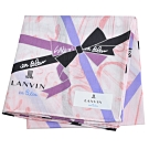 LANVIN en Bleu 優雅緞帶蝴蝶結圖騰字母LOGO帕領巾(粉紅色系)