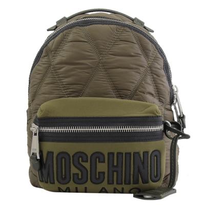 MOSCHINO 電繡LOGO菱格尼龍拼接後背包(綠)