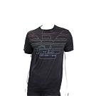 Emporio Armani GA 多彩老鷹標誌黑色天絲棉T恤(男款)