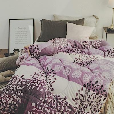絲薇諾 紫色銀花 MIT 羊羔法蘭絨被/單人-145×195cm