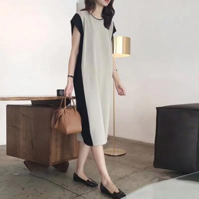 2F韓衣-簡約氣質拼接短袖造型洋裝-2色(F)