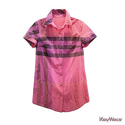 KeyWear奇威名品    舒適百搭紗格短袖襯衫-粉紅色