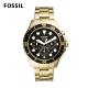 FOSSIL FB - 03 三眼計時黑鏡潛水男錶 金色不鏽鋼錶帶 46MM FS5727 product thumbnail 1