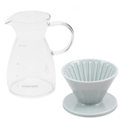 CAFEDE KONA 波佐見燒 HASAMI 時光陶瓷濾杯01分享壺組-灰
