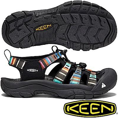 KEEN 1003480黑/彩色 NewPort H2 女戶外護趾涼鞋