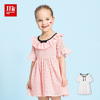 JJLKIDS 荷葉翻領蕾絲織紋五分袖洋裝(2色)