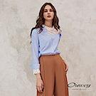 OUWEY歐薇 不對稱造型透膚蕾絲拼接條紋上衣(藍)